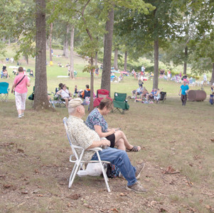 THE CROWD GATHERED at Morris Vineyard for the solar eclipse spanned generations.