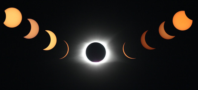 The phases of the eclipse are shown in this combination photo submitted by Paul Ledwell.
