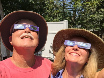 DAVID AND CAROL MARR enjoy the 2017 eclipse.