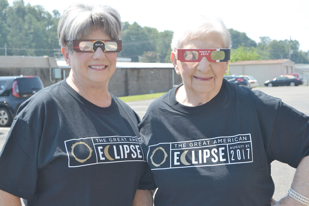 "Jo ""The Wild One"" Bates, 92, and her daughter, Janie Arms, stopped by the Banner offices on Tuesday all ready to view the total eclipse. ""Bring it on,"" said Jo, who has performed as a clown for events in Cleveland for several years."