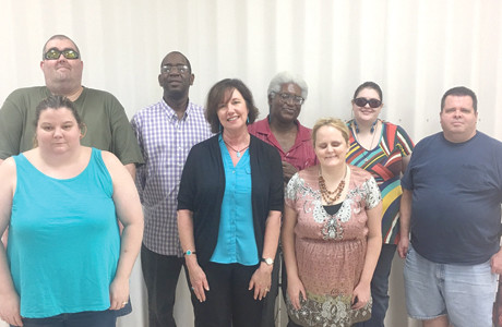 The South East Chapter of the National Federation of the Blind recently met. Shown are Christy O'Dell, president; Traci Hamilton, speaker; Mandy Dixon;  Holly Rose, vice president; Kyle O'Dell, treasurer;  Jackie Homes; Faheem Bengazi,  vice president; and Joe McDonald.