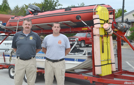 COMMANDER Ronnie Goss, left, and Lt. Donovan Dicola have been deployed to provide swiftwater rescue in flood-ravaged areas of Texas. The two Bradley County Fire-Rescue crew members left Cleveland on Wednesday morning for Nashville, to meet with others from the state who will be providing assistance on the eight-day deployment.