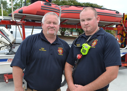 CHIEF MIKE WILLIAMS, left, of the East Ridge Fire Department will be assisting victims in Texas with water rescue over the next eight days. He will be joined by Engineer Chris Peters of the East Ridge Fire Department.