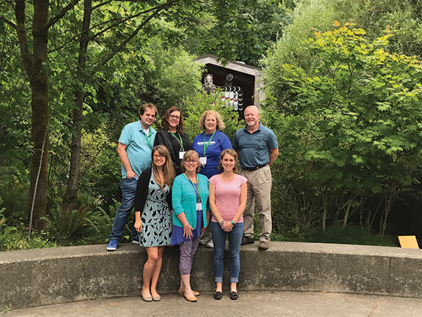 CSCC faculty and staff at the National Summer Institute on Learning Communities at The Evergreen State College. From left, front, are Dr.  Victoria Bryan, Judy Nye and Sara Amato; back, Ashley Raburn, Marcia Reiter, Dr. Denise King and Darrell Oakley.