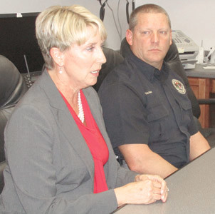 MARY BETH HUDSON, Wacker vice president and Charleston site manager, and Bradley County Emergency Management Director Troy Spence held a news conference concerning the plant's explosion just before 11 p.m. Thursday night.