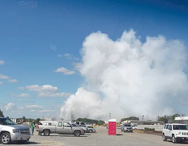 A CLOUD of vapor rises from the Wacker Polysilicon North America plant in Charleston Thursday afternoon, blocking much of the view of the facility. A chemical release and explosion occurred at the plant, and Wacker officials noted that the vapor cloud with trace amounts of hydrogen chloride was formed by the use of water to contain the chemicals, as well as a section of steam piping being damaged.