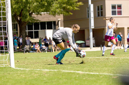 Lee keeper Haley Gribler had three saves in the Lady Flames' overtime battle with the Embry-Riddle Eagles Sunday, in Foley, Ala.