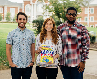 "Lee students Brady Barnett, a junior from Dalton, Georgia; Madison Lohr, a freshman from Cincinnati, Ohio; and Chike Joseph Okwudiafor, a senior from Lagos, Nigeria, look at the U.S. News & World ""Report Best Colleges"" 2018 edition."