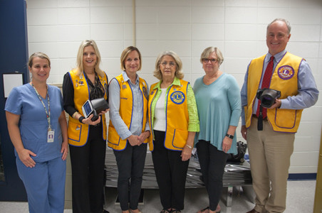 Members of the Cleveland Lions Club recently gave vision screenings to students at E.L. Ross Elementary. From left are E.L. Ross nurse Rachel Taylor, Kim Ledford, Lou Horner, Betty Messer, Deedee Finison and Curt Duncan.
