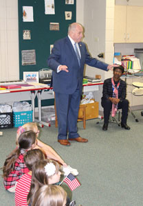CLEVELAND MAYOR  Tom Rowland explained the importance of the U.S. National Anthem to Blythe-Bower students