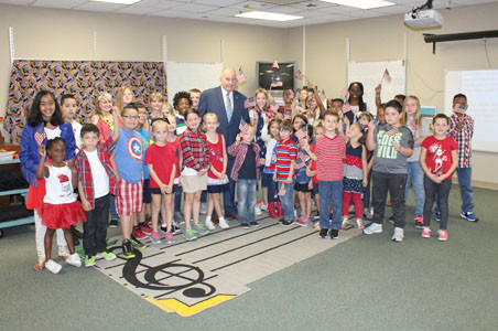 BLYTHE-BOWER STUDENTS were decked out in red, white and blue for Star Spangled Banner Day.
