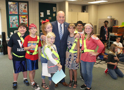 MEMBERS OF Blythe-Bower's fifth-grade saftey patrol enjoyed meeting Cleveland Mayor Tom Rowland.