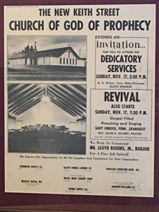 The advertisement appeared in the Cleveland Daily Banner 50 years ago announcing the dedication of the Keith Street Church of God of Prophecy.