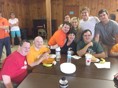 ENJOYING LUNCH together were Fun with Friends students Shane Smith, Dustin Sandidge, Dustin Crumbley, Kevin Kinser, Heather Collins and Jeremy Hitson, while the BCHS community service class students were Shayla Dye, Dylan Standifer and Cole Reyher.