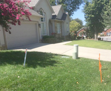STAKES HAVE BEEN placed on several home properties, businesses, and even in front of Westwood Baptist Church along Georgetown Road. The stakes are to inform property owners as to how much space is expected to be needed for the highway's widening project.