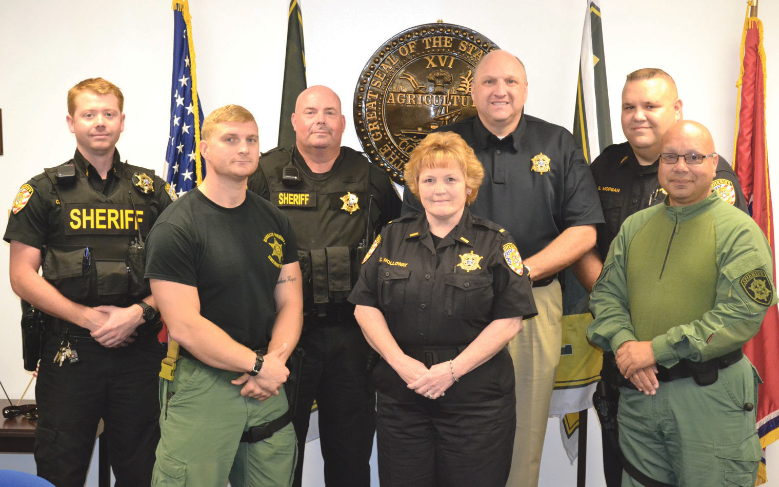 A GRANT from the Tennessee Highway Safety Office will be used at the Bradley County Sheriff's Office by the Public Service unit. Members of the PSU are, from left, front row: Deputy Brandon Coffel, Public Safety Lt. Cheryl Holloway, Public Safety Unit Sgt. Mario Santos; back row, Deputy Corey Loftis, Deputy Andy Smith, Sheriff Eric Watson, and Deputy Bruce Morgan.