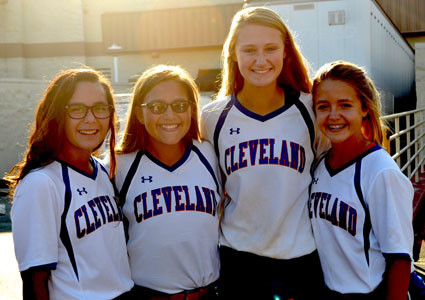AMONG THOSE WHO attended the National Night Out were members of the Cleveland Middle School softball team. From left are Tori Price, Madison Long, Sierra Brown and Polly Fowler.