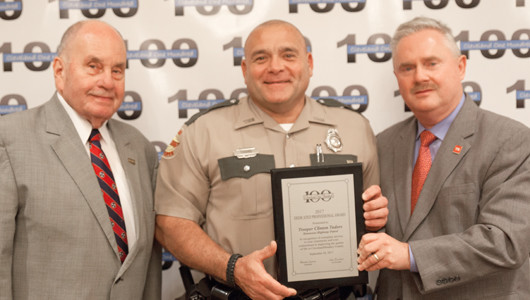 THP Trooper Clinton Tudors received his award from Mayor Tom Rowland and Commissioner David Purkey.