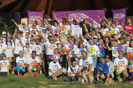 Members of the Life Care Centers of America corporate team pose for a group picture at Saturday's Walk to End Alzheimer's.
