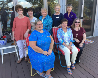 The Athens ALpha Delta Lambda's annual picnic was attended by several guests: from left, front, Carol Peace (Tennessee state president), Brenda Chambers (state treasurer), and Julie Mitchell (chapter past president); and second row, Vivian McCormick (Sapphire sister), Lynn Gibson (Gamma chapter (Knoxville) president and state parliamentarian), Nancy Whittemore (ETDVP from Epsilon Chapter (Maryville), Marlietta Cooper (Beta Eta Chapter of Maryville), and Joanne Swafford (state historian).