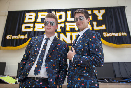 BRADLEY CENTRAL SENIOR band students, Sam Riddle, left, and Nate Sims sport their Pac-Man suits for the Bradley Classic band competition on Saturday.