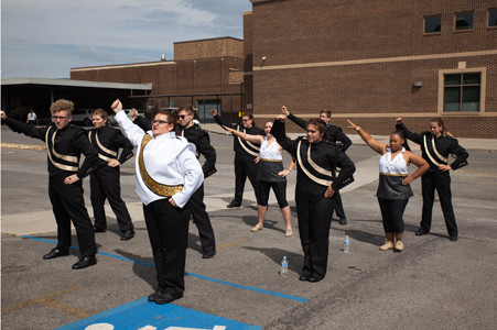 LOOKOUT VALLEY band members count out their beats and steps before their time at the Bradley Classic.