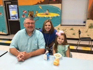 TEACHER Jana Hays' daughter, Ryleigh, enjoyed having breakfast with her granddad during the Grandparent Breakfast at Hopewell Elementary School.