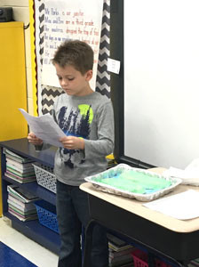 JACK PRICE presents his landform to his class at North Lee Elementary School after researching and creating his project.