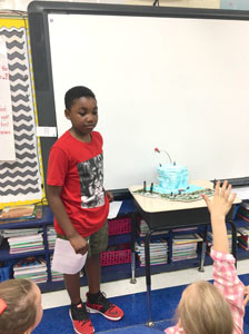 KEASON GIBSON answers some questions after presenting his landform project to his peers at North Lee Elementary School.