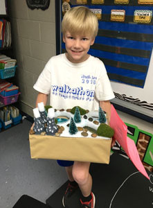 BRANDON SATTERFIELD shows his project to his class at North Lee Elementary School and shares several facts on his landform.