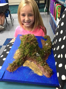 OLIVIA MASON presents her landform project to her class. Third-graders at North Lee Elementary  have been learning about landforms around the world. They each completed their unit of study by doing research, creating a 3-D landform and presenting it.