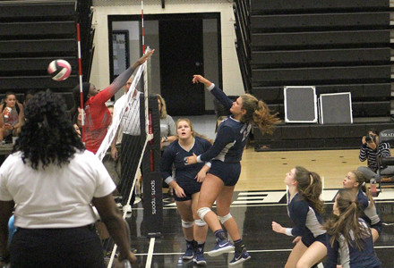 WALKER VALLEY'S Aly Grace Lemons gets a kill against Ooltewah on Monday, in the District 5-3A volleyball semifinals.