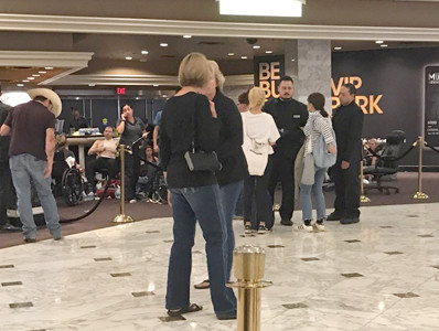 THE MGM HOTEL was a site where many went for safety following the mass shooting in Las Vegas Sunday evening. Former Clevelander Angela Mathis and her husband, Barry, were vacationing in the city, and stayed in the hotel near the Mandalay Bay hotel, where the shooter was located.