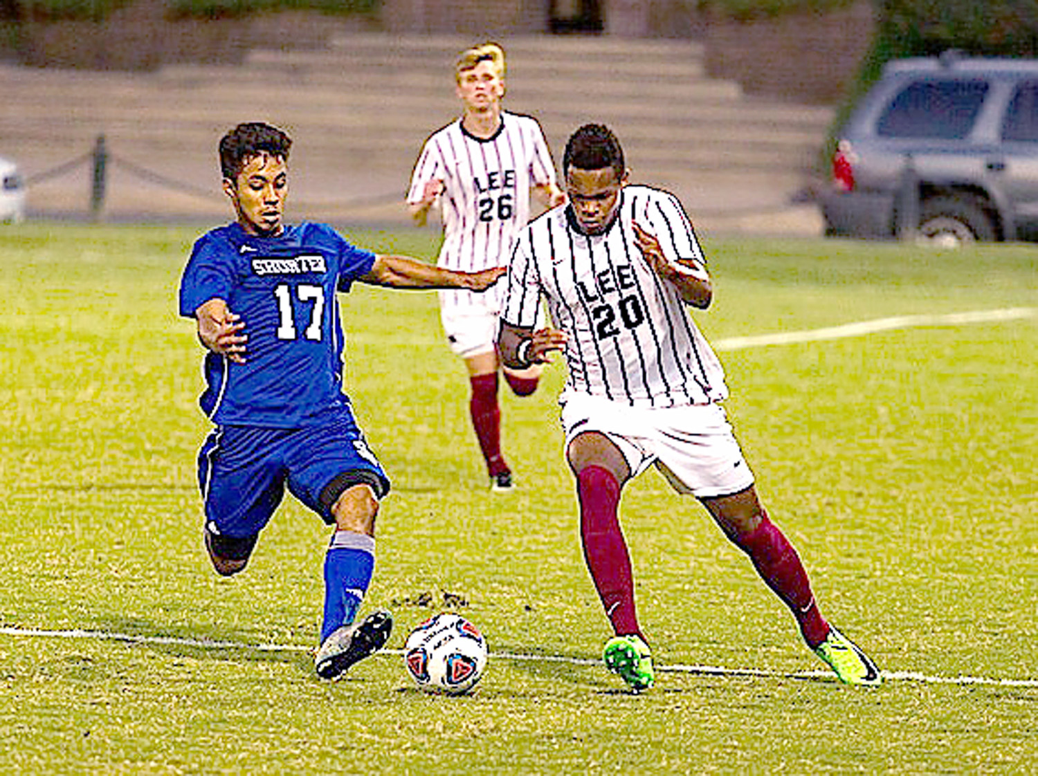LEE'S Samaan Williams, shown here against Shorter University,  scored his second goal of the season in the Flames' loss to Spring Hill College Thursday, in Mobile, Ala..