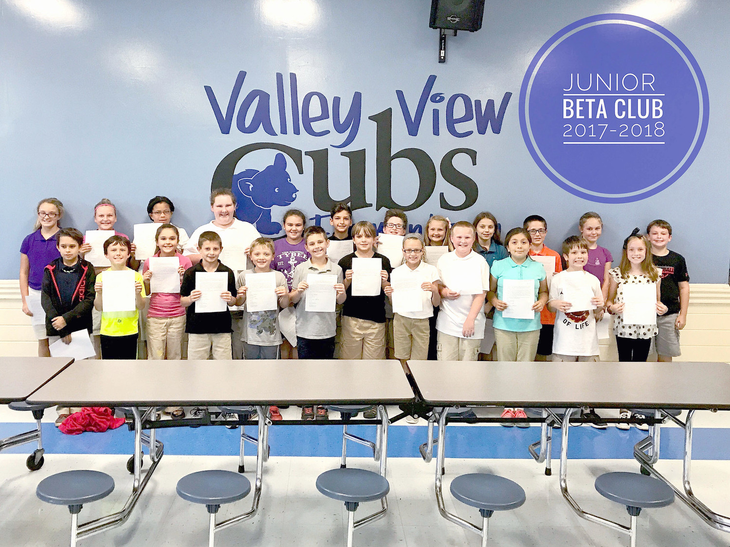 VALLEY VIEW ELEMENTARY recently celebrated the Junior Beta Club inductees for the 2017-18 year. These fourth and fifth-graders were chosen for their academic excellence and character. In the back row, from left, are Riley George, Sophie Cameron, Serenity Cooper, Kylie Holland, Carley Horning, Cameron Higgins, Aiden Smith, Cambree Milen, Patience Stephens, Isaiah Gunter, Shiloh Denton and Tucker White. In the front row are:  Jeremiah Phelps, Carson Russell, Trinity Gibson, Waylon Wilson, Doc James, Christopher Herron, Austin Wooden, Karly Blackwell, Robert Rowe, Veda Pineda-Roblero, Takoda Niswonger and Chloe Frakes.