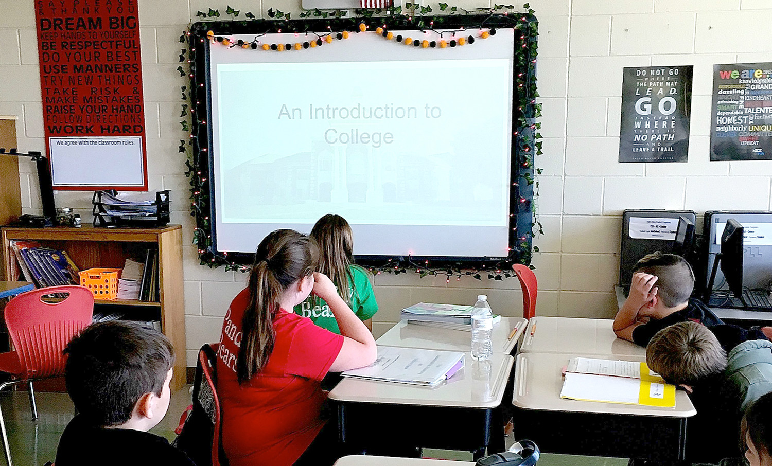 FIFTH-GRADERS at Valley View Elementary School listen to a lesson about college options. The school recently led a series of activities emphasizing the opportunities available after high school.