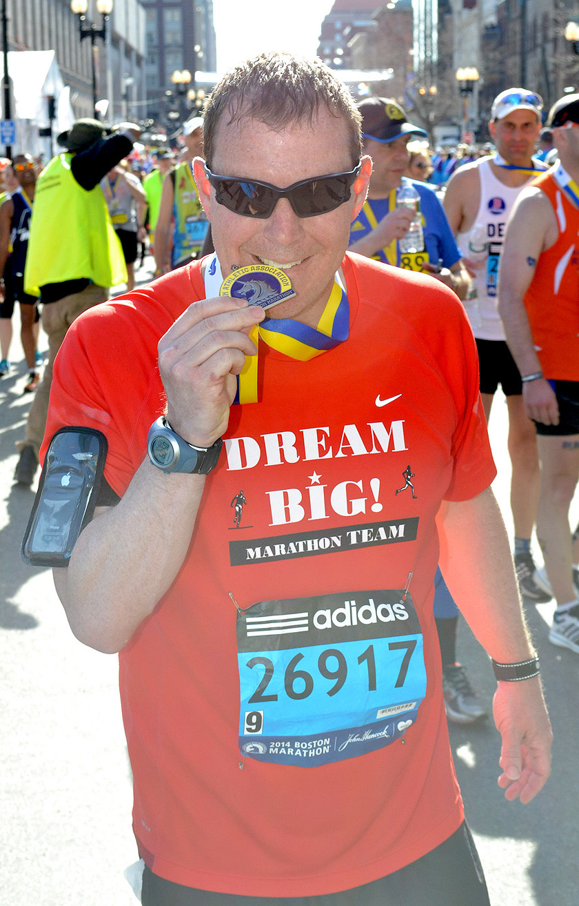 A MEDAL FROM the Boston Marathon is one of Matt Ryerson's favorites. He participated in the race the year after the bombing in that city.