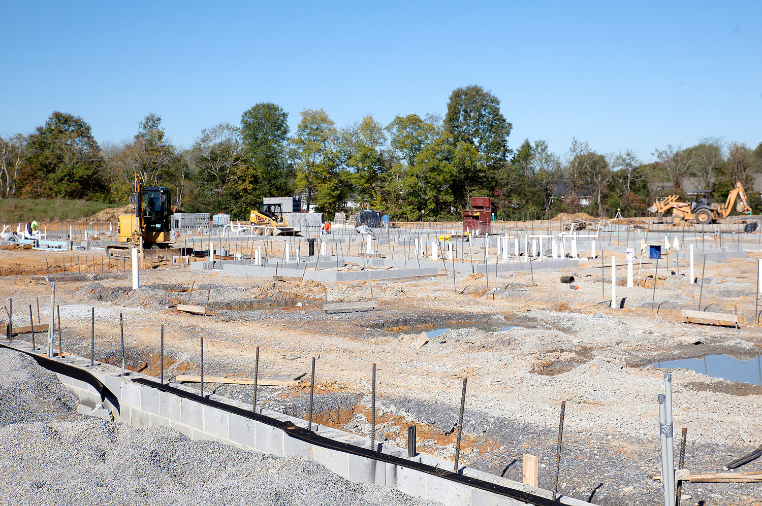THE SECOND WING of the Candy's Creek Cherokee Elementary construction site is already receiving its plumbing and footers, and block work has also begun.