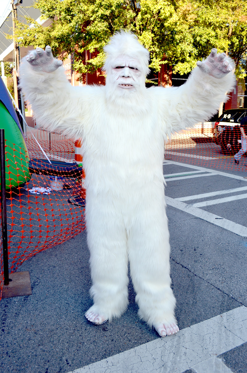"BEFORE ""TREAT STREET"" opened, this yeti greeted everyone at the Block Party"