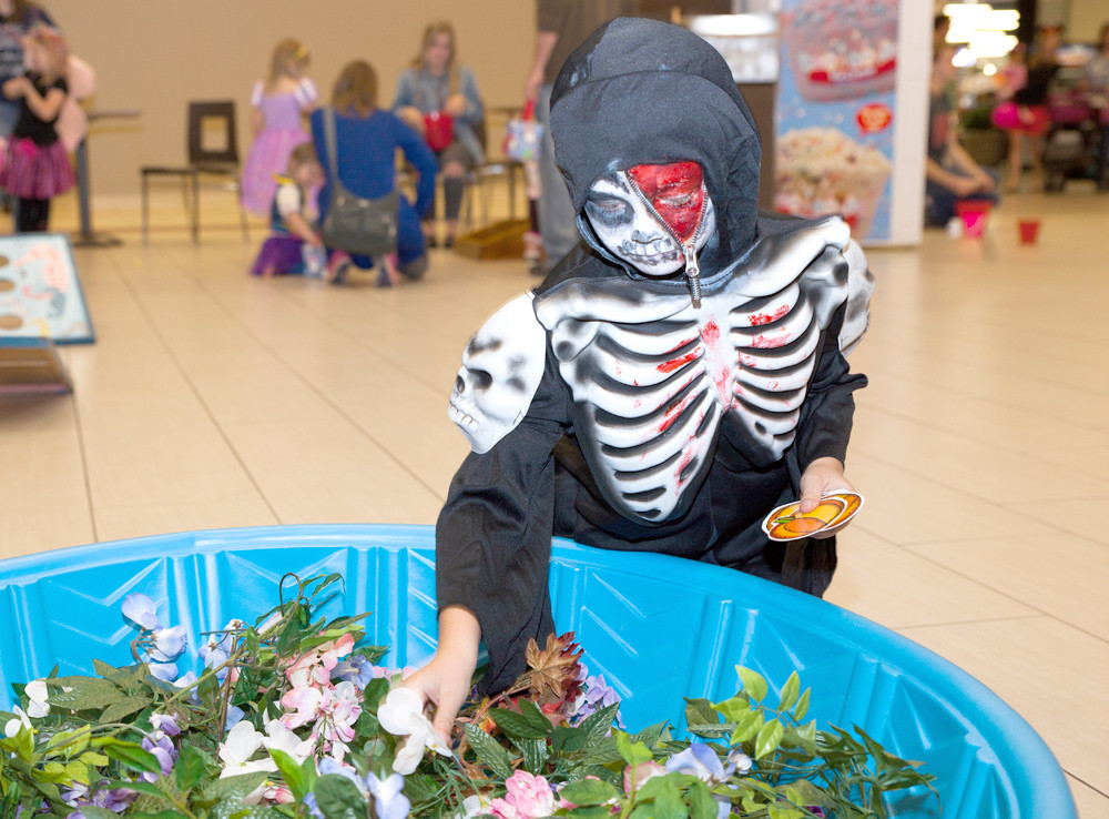 SKYLER MILAM, dressed as a ghoul with a zipper face, hunts for pumpkins amid the bushes in this game at the Spooktacular Fall Festival.