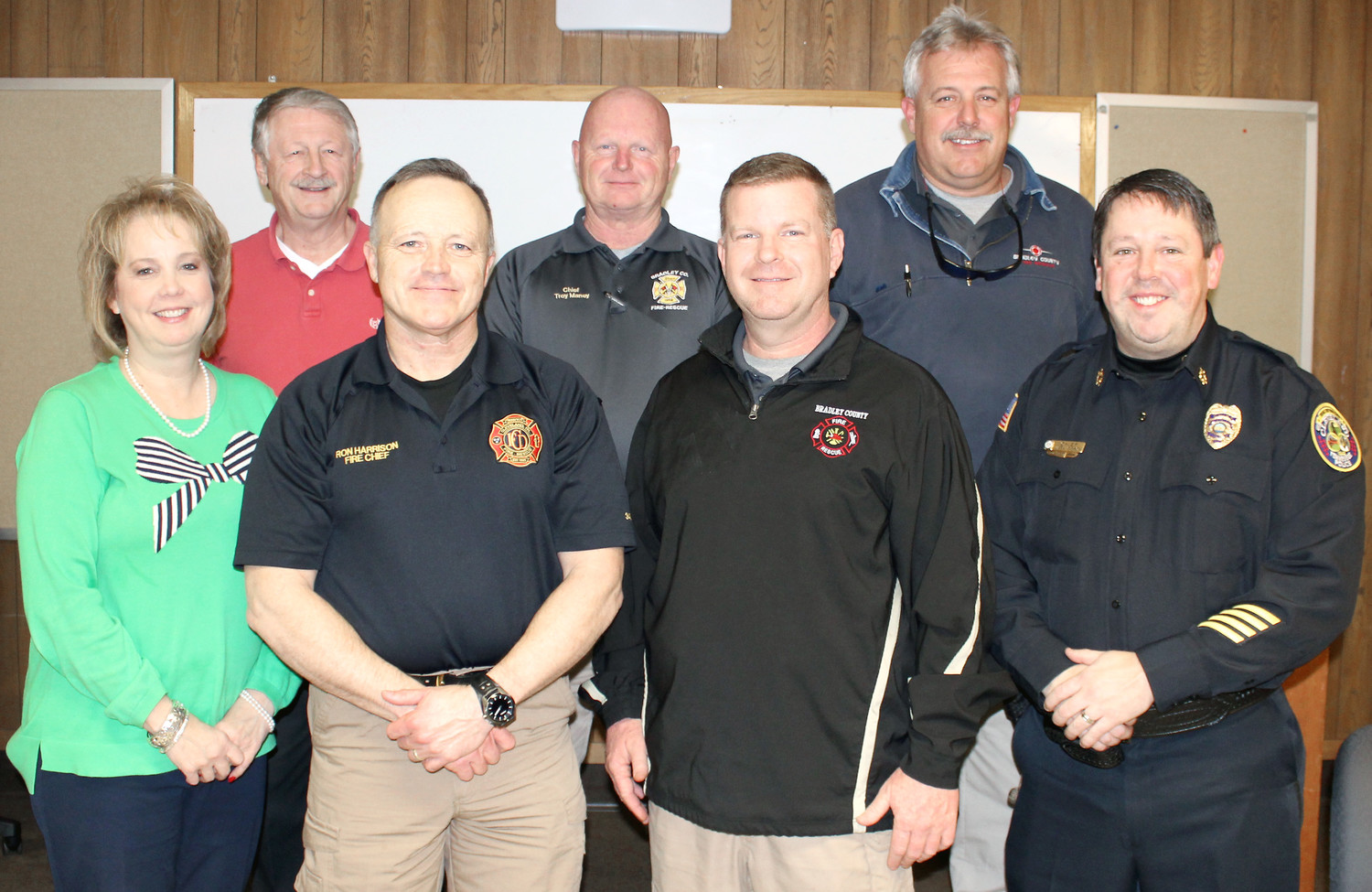 MEMBERS of the 911 Search Committee, front row from left,  are Cleveland Assistant City Manager Melinda Carroll, who is serving as a resource to search committee members; Cleveland Fire Chief Ron Harrison, Bradley County Fire-Rescue Chief Shawn Fairbanks and Cleveland Police Chief Mark Gibson. On the back row, from left, are former 911 director Joe Wilson, who is serving as a resource to search committee members; Bradley County Operations Fire Chief Troy Maney and Charleston Police Department Chief Johnny Stokes.