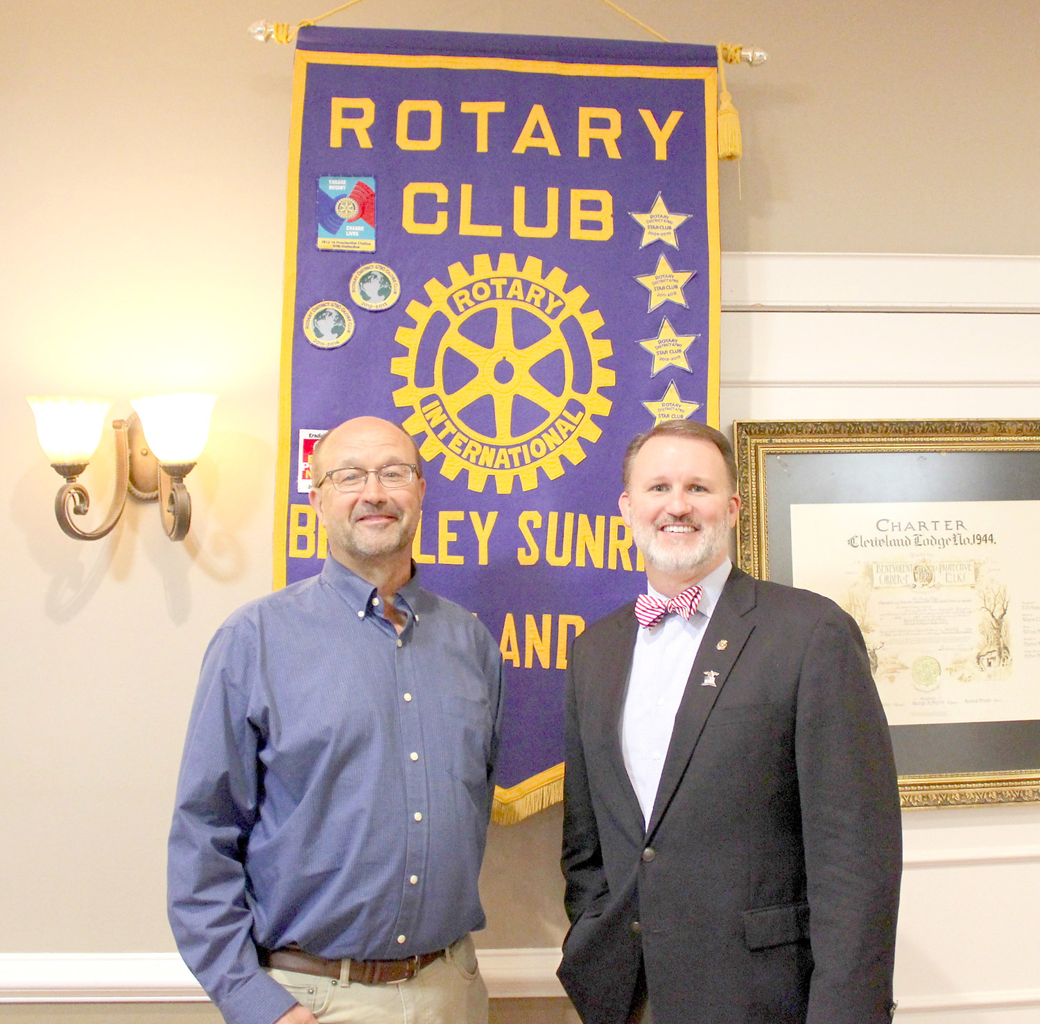 FORESTRY efforts in Cleveland were the focus of a recent Bradley Sunrise Rotary Club meeting. From left are Cleveland Urban Forester Dan Hartman and club President Matthew Coleman.