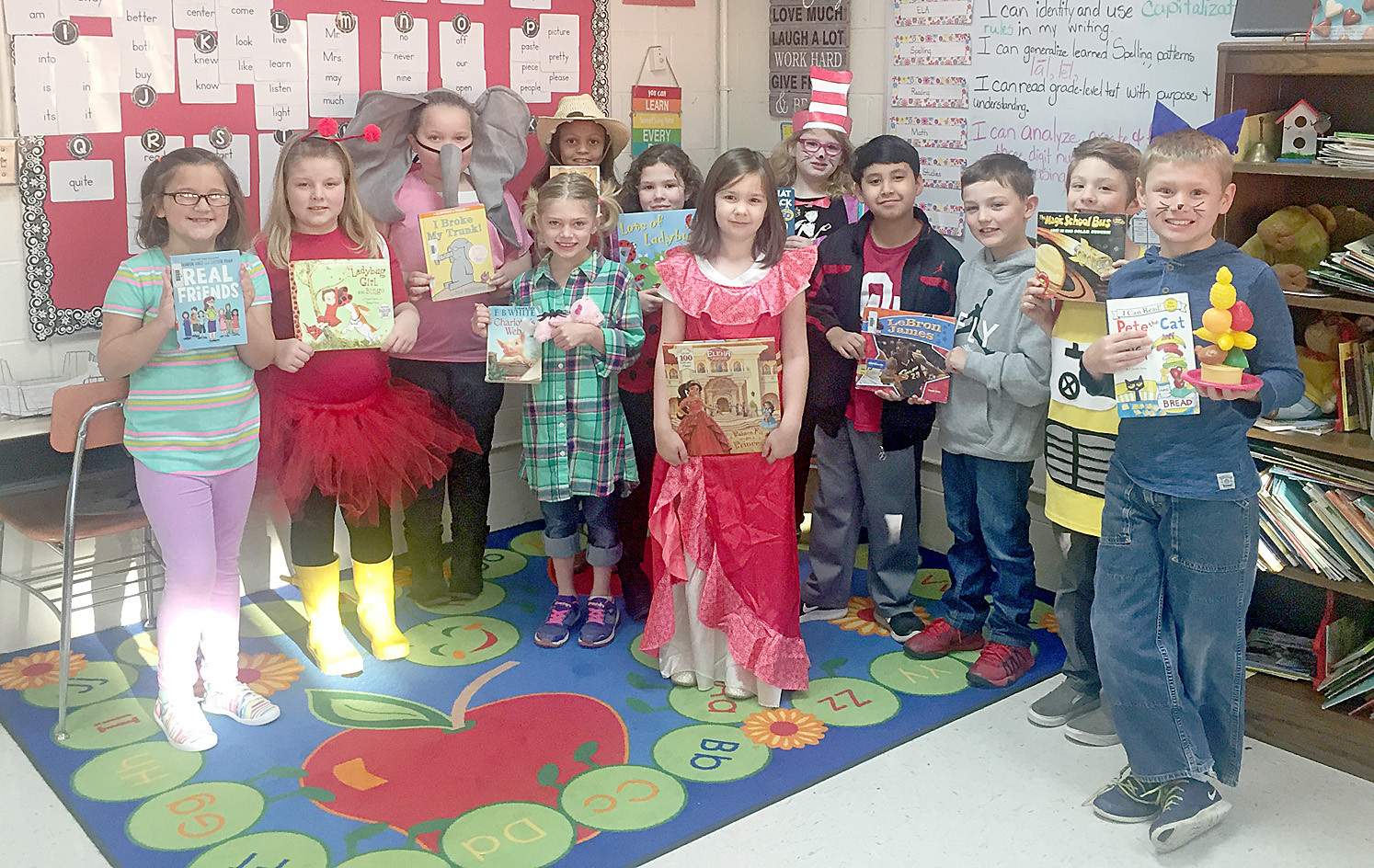"Mrs. Roberts' second-grade class at Charleston Elementary School dressed up in ""Seuss style"" for Dr. Seuss' birthday to celebrate Read Across America."