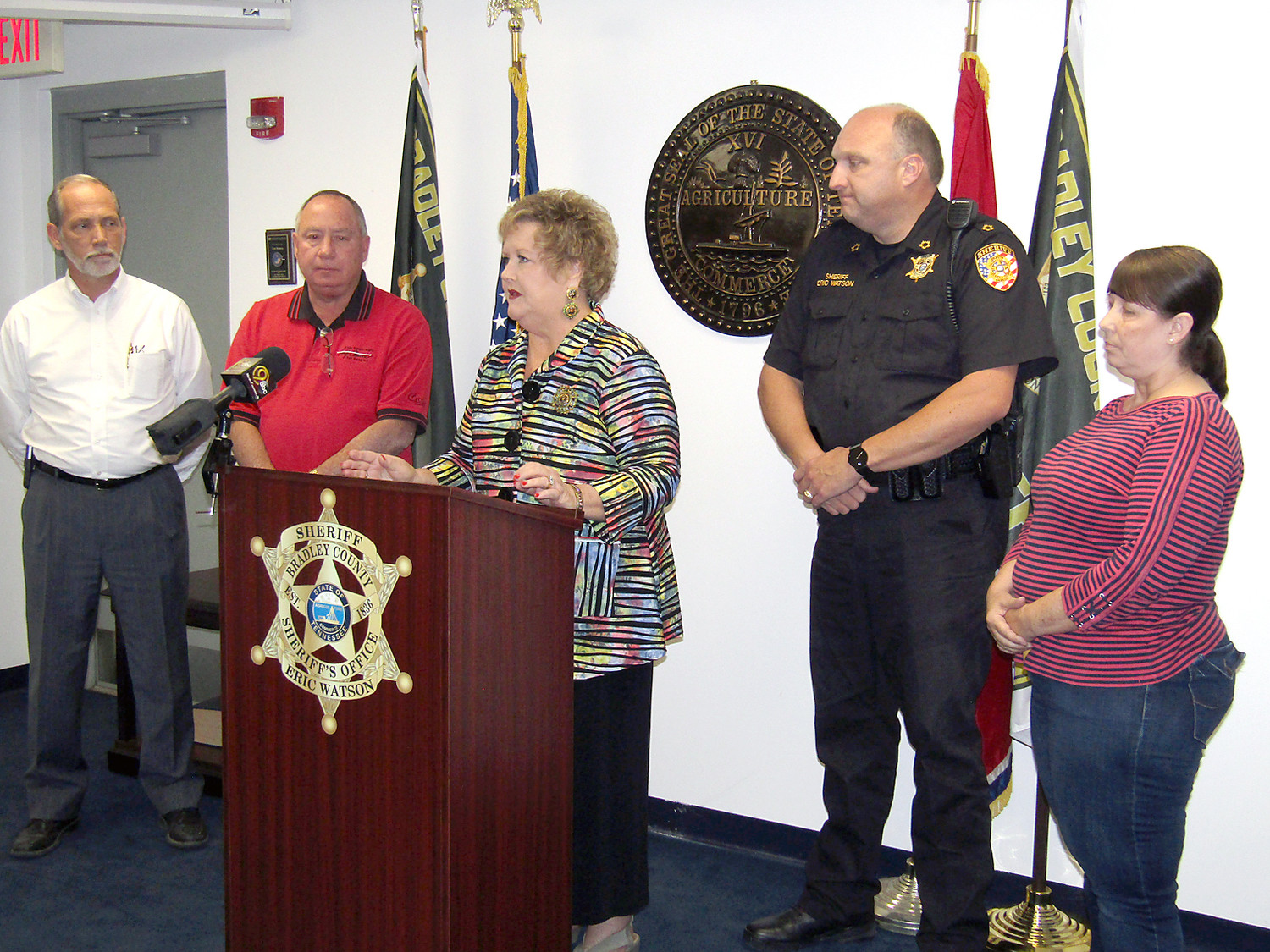 Courthouse officials addressed the move of their offices during a Wednesday press conference. From left are County Mayor D. Gary Davis, Trustee Mike Smith, Court Clerk Gayla Miller, Sheriff Eric Watson, and Register of Deeds Dina Swafford.