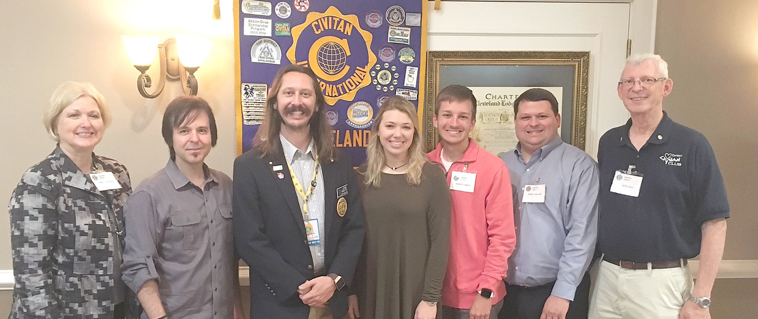 Civitan Club recently installed four new members.  Assisting in the installation were Nathan Higdon, Civitan Appalachian district governor, and Phil Brown, Civitan Appalachian District governor-elect.  From left are Diana Jackson Civitan Club president; Nate Ridgeway; Higdon; Emily Jackson; Justin Gregory; Eddie Jones; and Brown.  Higdon and Brown challenged new members to become involved in club projects and become future leaders in the organization.