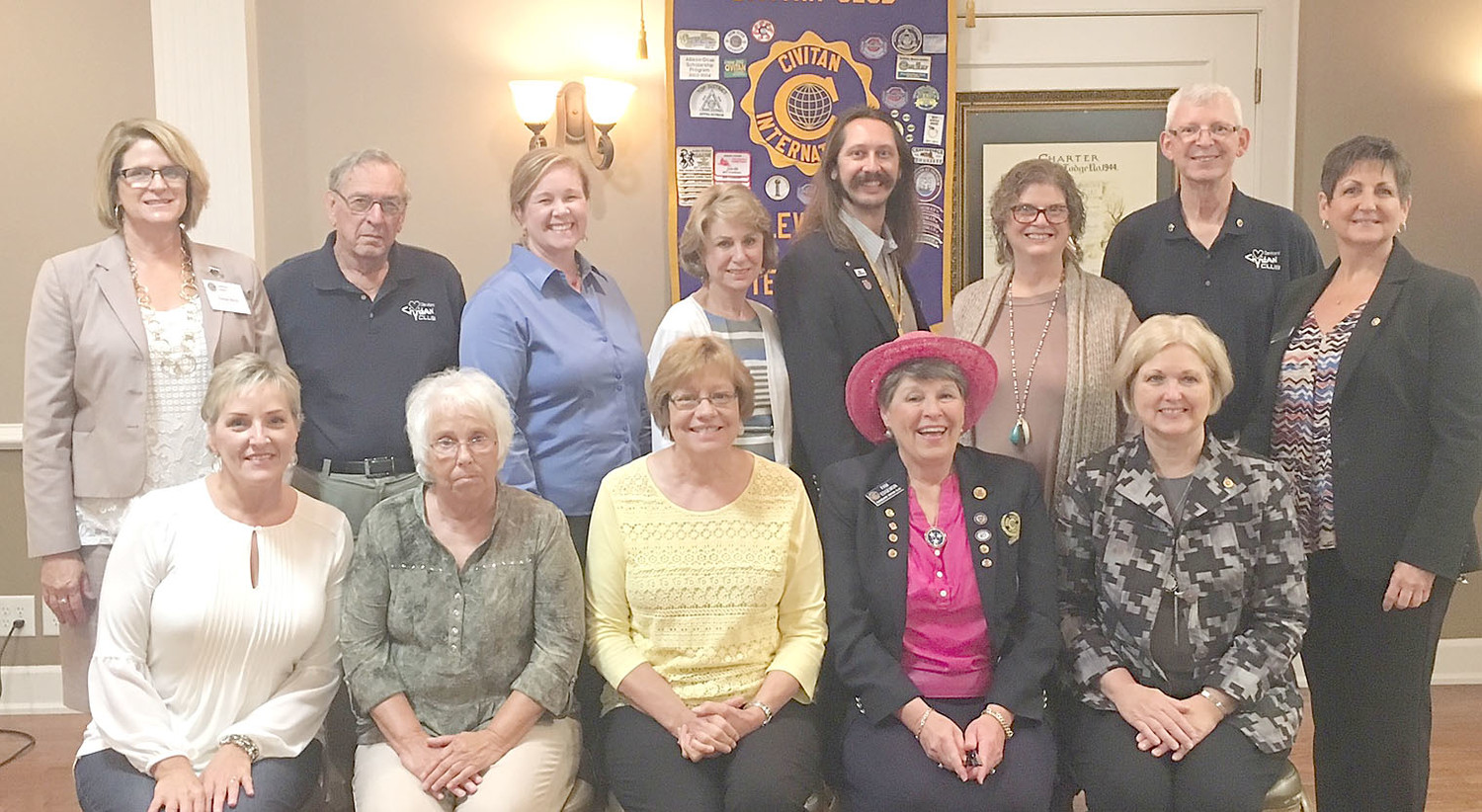 Officers and board members for the Cleveland Civitan Club 2017-2018 year were recently installed by Nathan Higdon, Civitan Appalachian governor.  From left, front, are Lee Tate; Luci Zwierzynski; Joan Brown, president; Pam Edgemon, president-elect; and Diana Jackson, past president; back, Teresa Davis; David Cummings; Kelly Browand; Linda Wheeler, secretary; Nathan Higdon, district governor; Catherine Rice, co-treasurer; Phil Brown, district governor-elect; and Lisa Webb, co-treasurer.