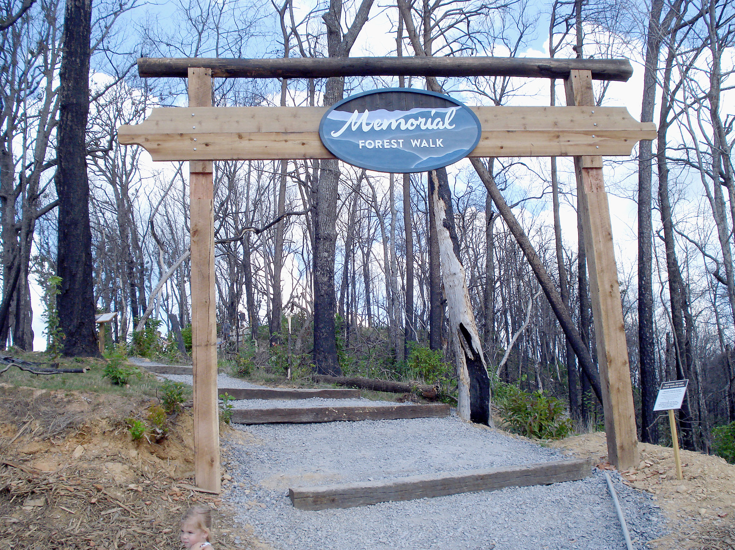 THE MEMORIAL FOREST WALK, located in the Firefly Village atop Anakeesta Mountain in Gatlinburg, opened Sept. 1. This view is the entrance to the short walkway that pays tribute to the victims, the heroes and the destroyed forests of the wildfires of November 2016.
