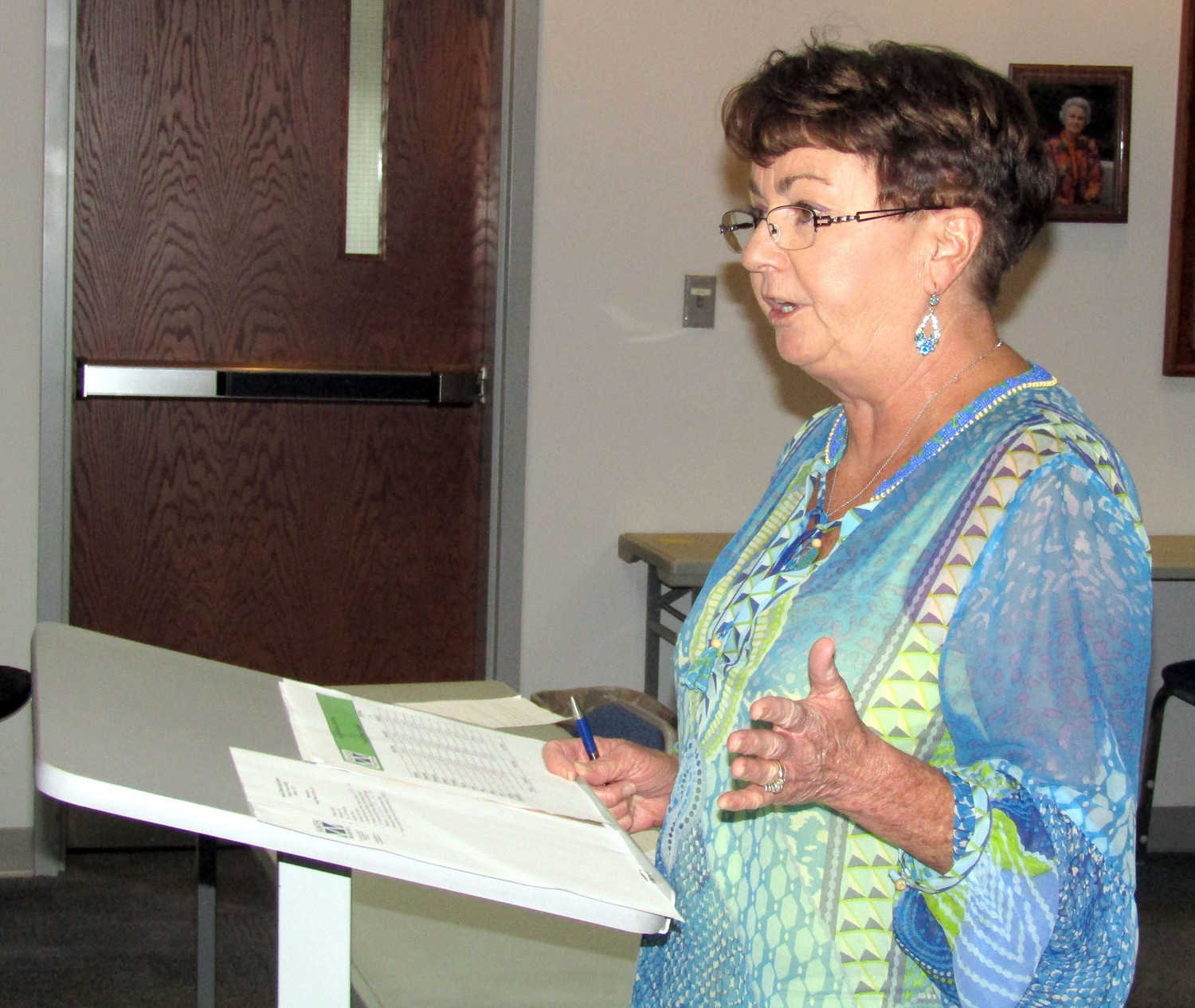 CHERYL DUNSON, Santek vice president of marketing, gave the annual county landfill report to the Bradley County Commission on Monday afternoon.