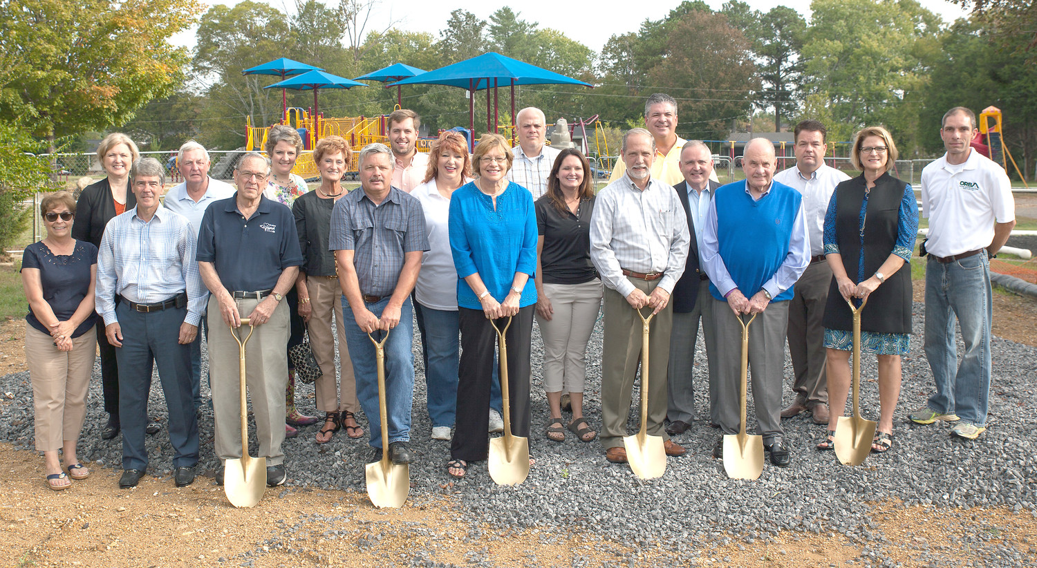 A LARGE NUMBER of Cleveland and Bradley County officials and sponsors were present to celebrate the groundbreaking of the Civitan Playground Project on Tuesday.  The project is focused on building a brand new handicapped-accessible restroom facility with two covered pavilion areas also planned.  From left are Patti Petitt, Diana Jackson, Bill Winters, Jerry Franitza, Dave Cummings, chairman of the playground committee, Rachel Brannen, Beth Woodard, Dennis Epperson, Blake Allison, Peaches Searles, Joan Brown, Brian Gilbert, Charlotte Peak Jones, Bradley County Mayor D. Gary Davis, Tom Cassada, Rep. Kevin Brooks, Cleveland Mayor Tom Rowland, Jeff Cochran, Teresa Davis and Chad Dean.