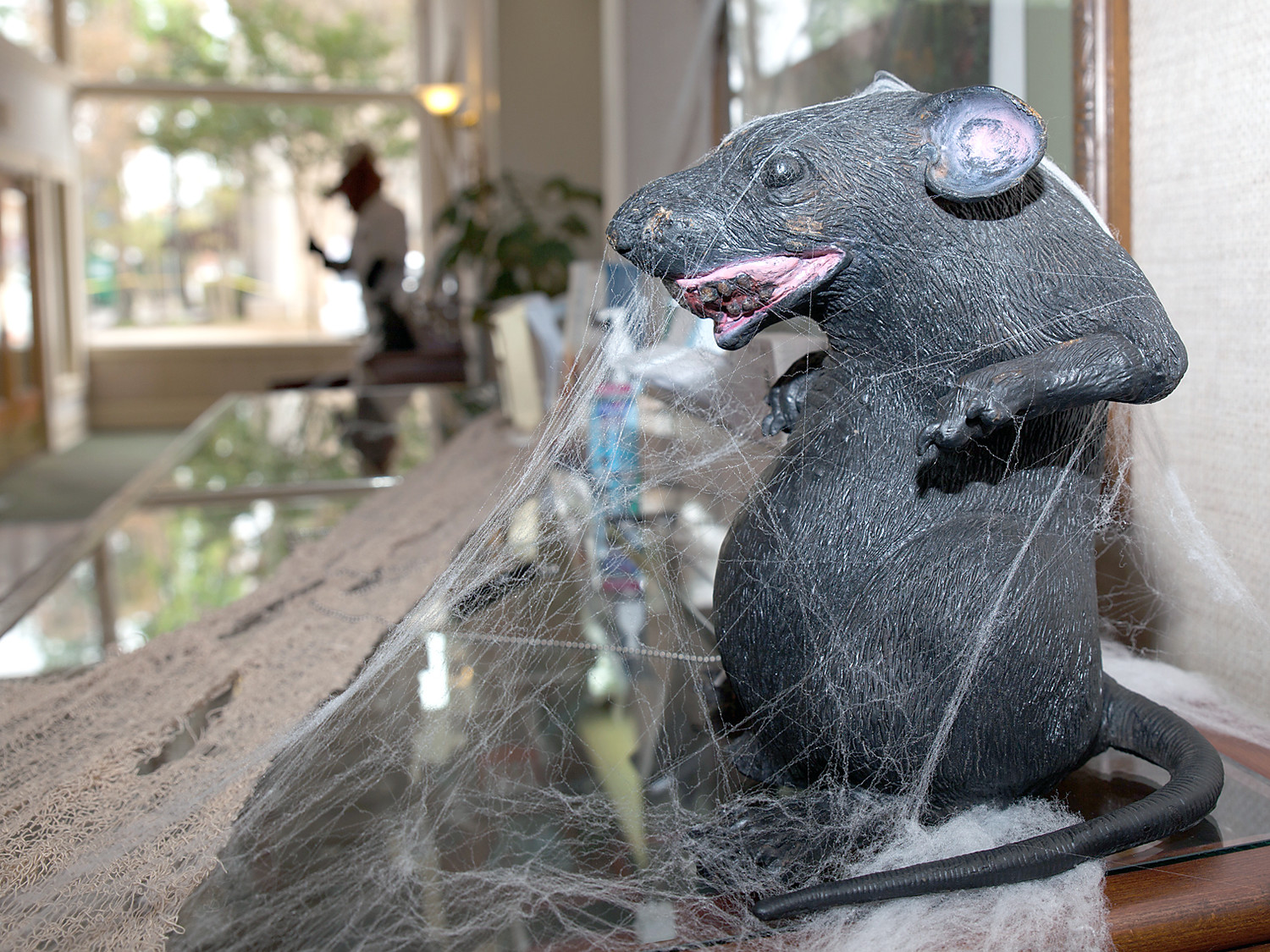 COBWEBS AND RATS galore adorn the lobby and common areas of the Bank of Cleveland for Halloween.